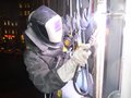 Welding with rope access